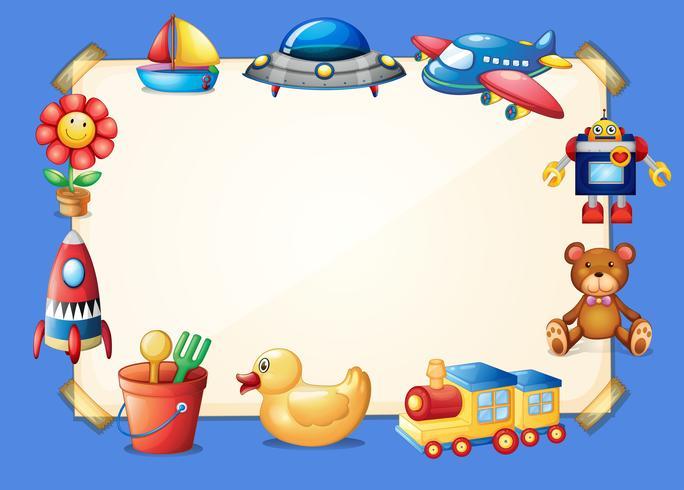 Plantilla de frontera con diferentes juguetes en el fondo