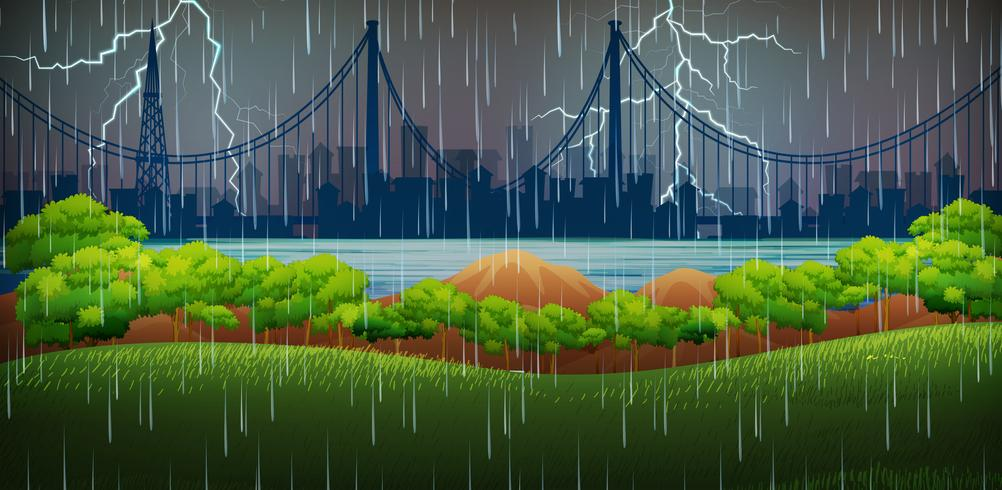 Scène de fond avec pluie et tonnerre