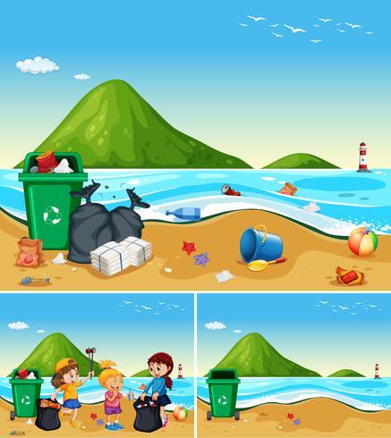 I bambini aiutano a pulire la spiaggia sporca