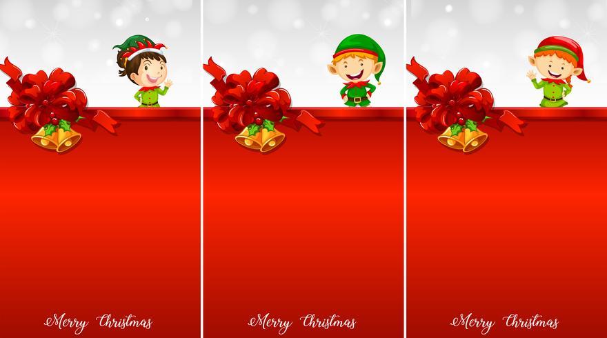 Drie achtergrond sjabloon met kerst eleves