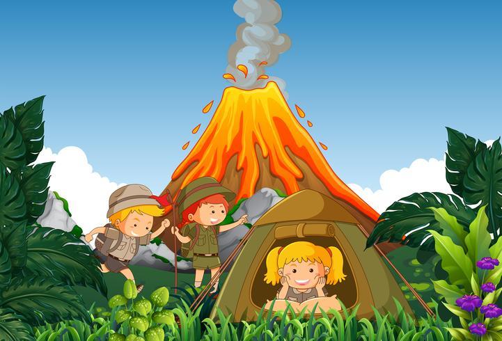 Kamperen kinderen kamperen naast de vulkaan vector
