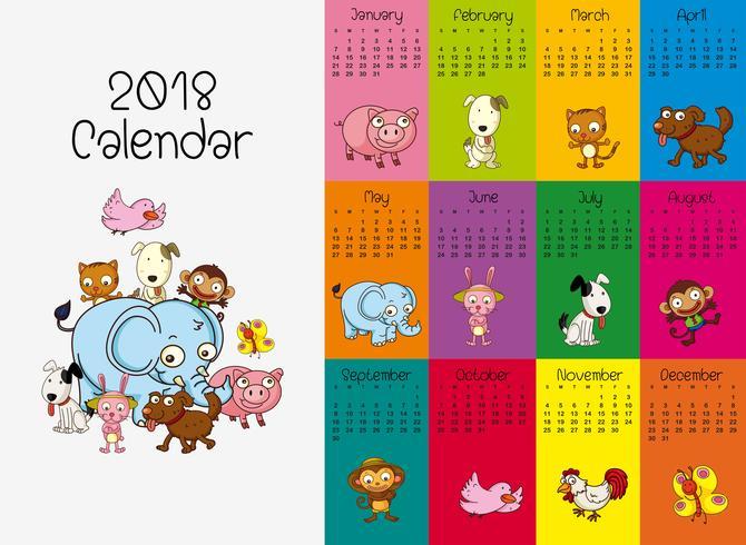 Plantilla Calendario 2018 Con Animales Salvajes Descargar