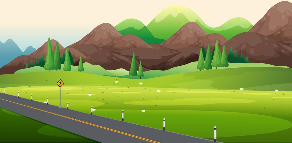 Lado da estrada com vista para a natureza