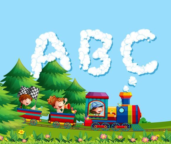Niños en tren de alfabeto vector