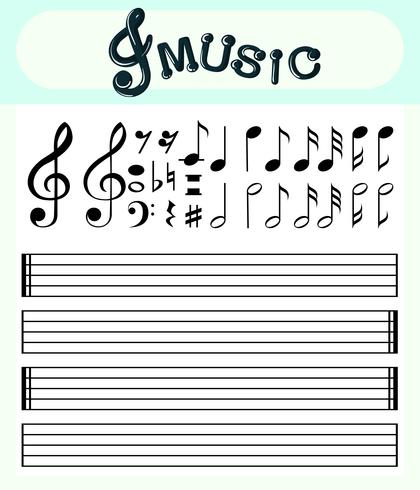 Music notes and scale lines template