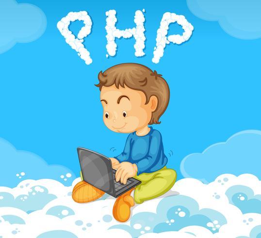 Un chico codificando PHP en la nube