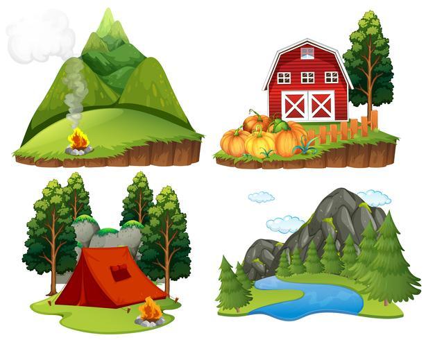 Cuatro escenas de la naturaleza sobre fondo blanco.