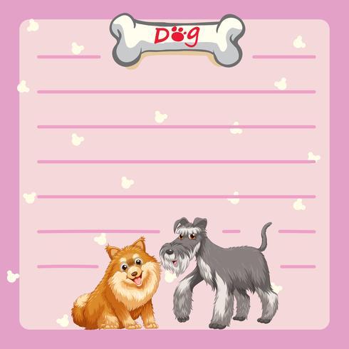 Plantilla de papel con dos perros lindos