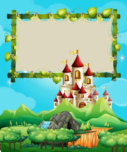 Modèle de frontière avec palais dans les montagnes