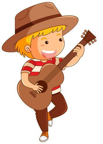 Ragazzo in cappello marrone, suonare la chitarra