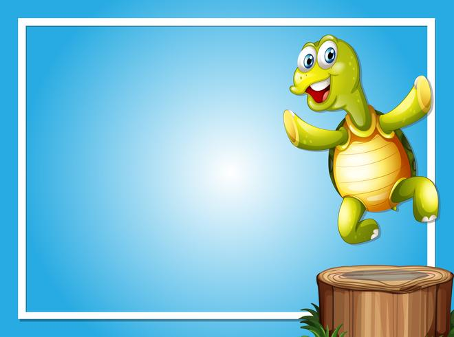 Border template with cute turtle