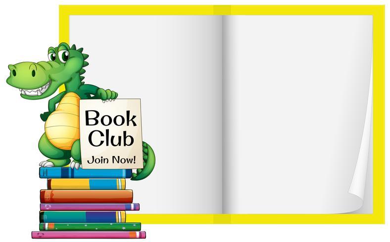 Un libro bianco con modello di coccodrillo