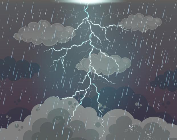 Scène de fond avec éclairs et pluie