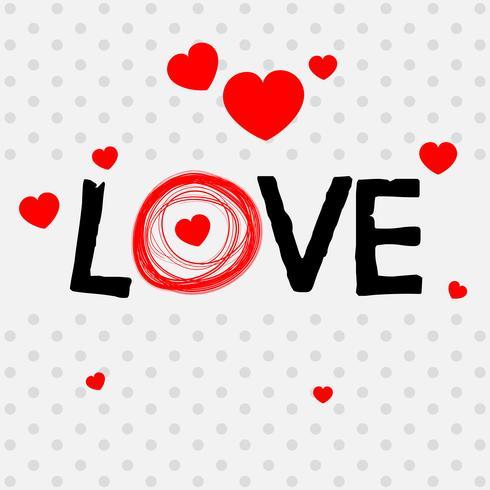 Plantilla de tarjeta de Velentine con la palabra amor