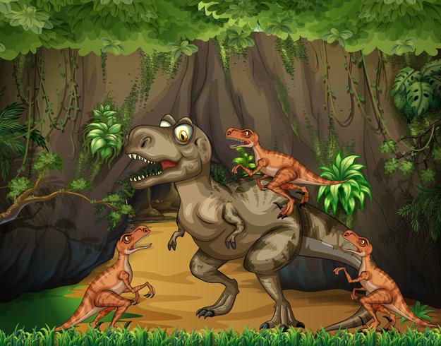 T-Rex fighting raptors in forest