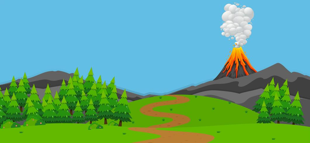 Background scene with volcano and forest