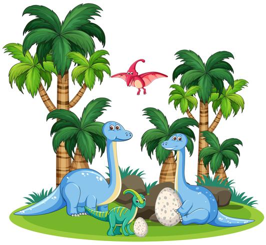 Dinosaur in nature template vector