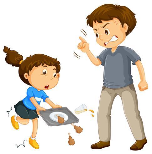 Een vader klagen over een kind