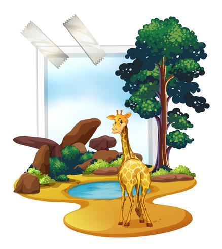 Giraffa in piedi nel campo della savana vettore