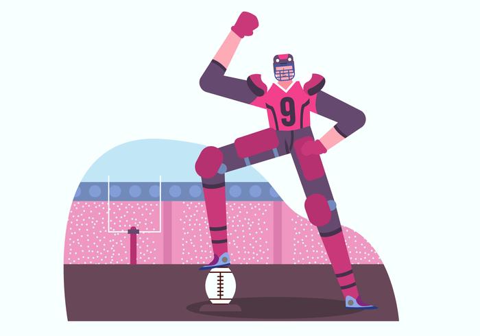 Ilustração em vetor personagem de jogador de futebol americano