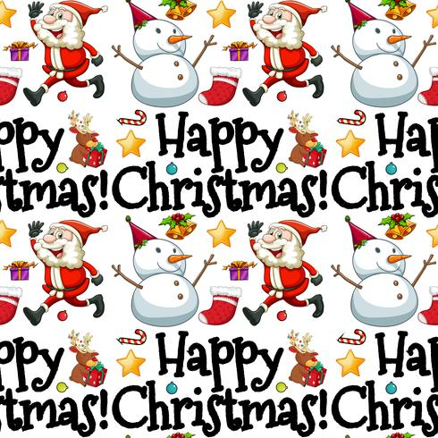 Sömlös bakgrundsmall med Santa och snowman
