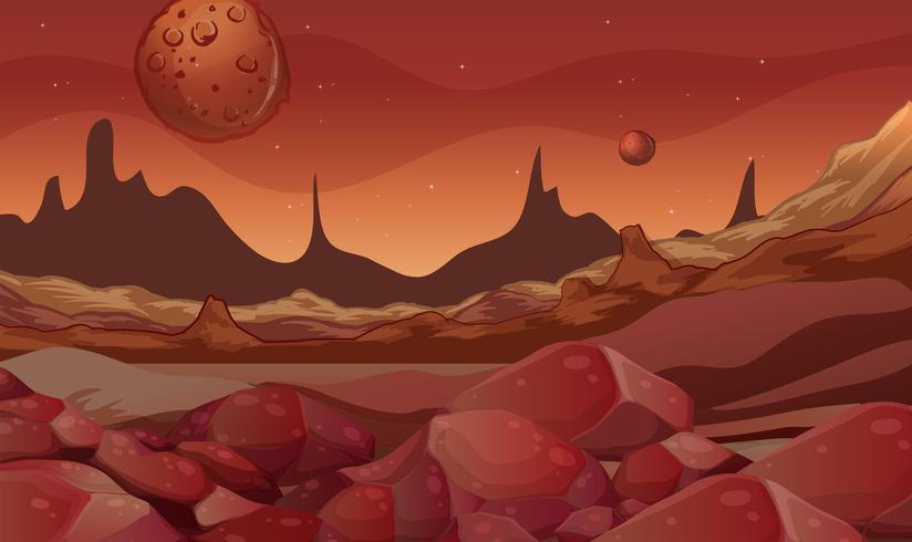 Scène de fond avec la planète rouge