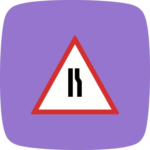 Vector Road narrows on right Road Sign Icon