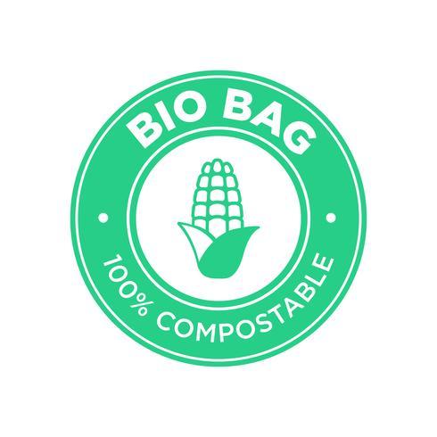 Bio Bag 100% Compostable de maíz. vector