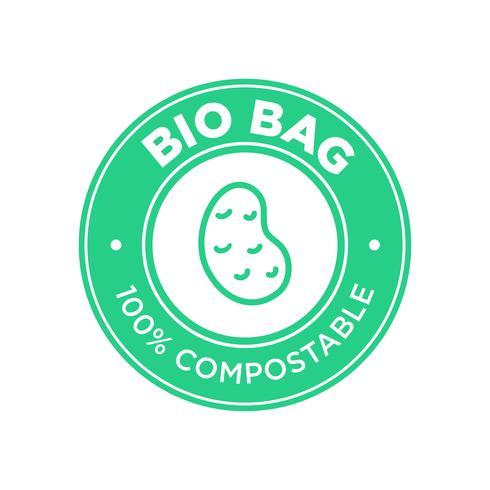 Bio Bag 100% Compostable de patata. vector