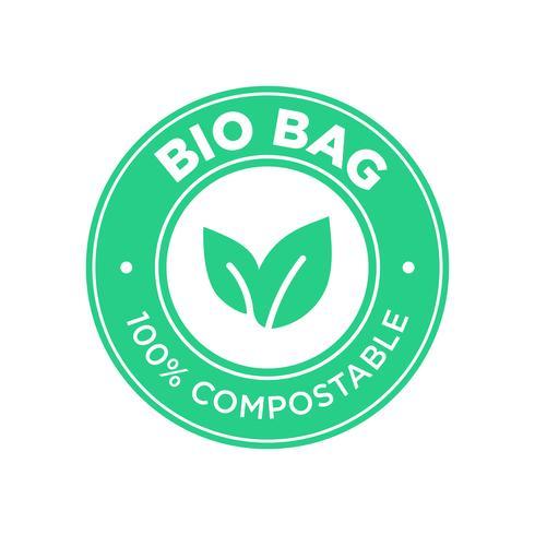 Bio bolsa 100% compostable. vector