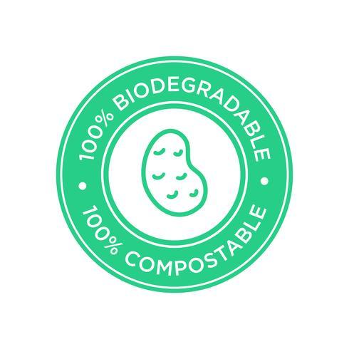 Icône 100% biodégradable et compostable. Bioplastique de pomme de terre.