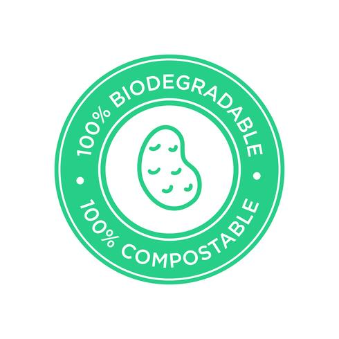 100% Biodegradable and compostable icon. Bioplastic made of potato.