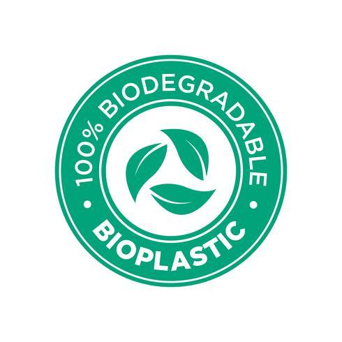 Bioplastique. Icône 100% biodégradable.