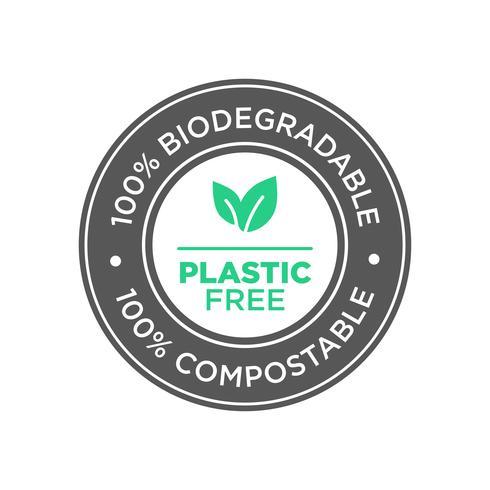 Sans plastique. Icône 100% biodégradable et compostable.