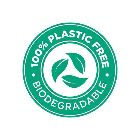100% libre de pastic. Icono biodegradable. vector
