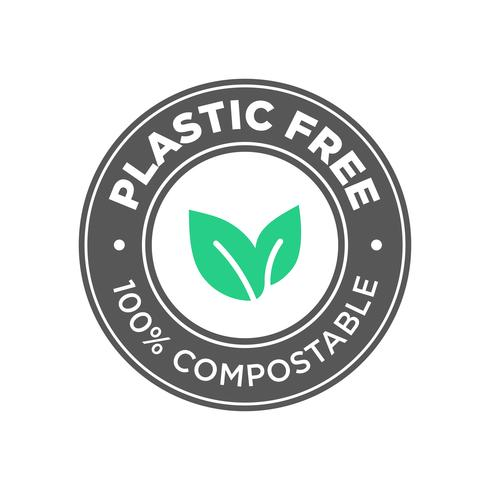 Plastic free. 100% Compostable icon.