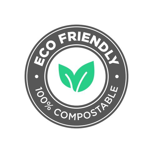 Eco Friendly. Ícone 100% Compostável.