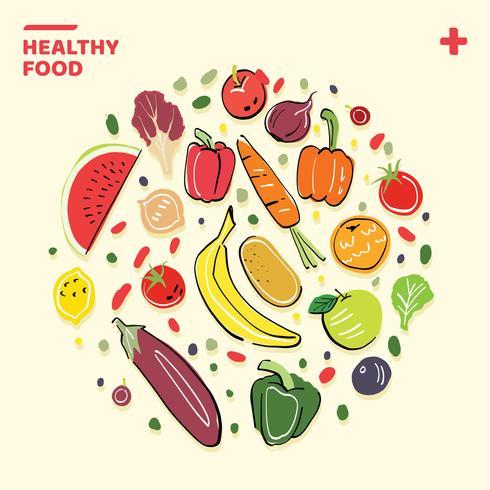 Hälsosam mat handgjord illustration