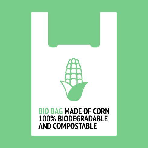 Borsa bio fatta di mais. vettore