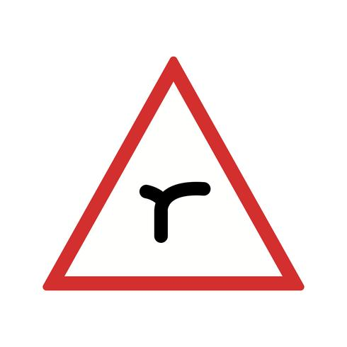 Vector Junction of bend ahead Road Sign Icon