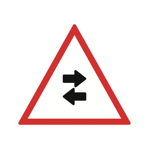 Vector de tráfico de dos vías cruza un solo sentido icono de señal de tráfico