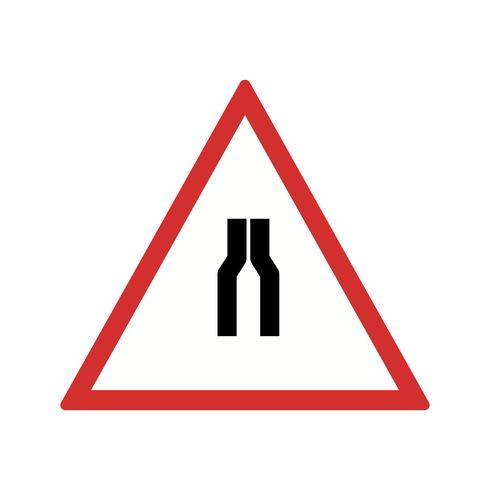 Vector Road versmalt aan beide kant Road Sign Icon