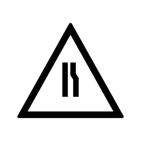 La strada di vettore si restringe sulla giusta icona del segnale stradale