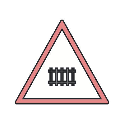 Vettore Passaggio a livello (con cancello) Road Sign Icon