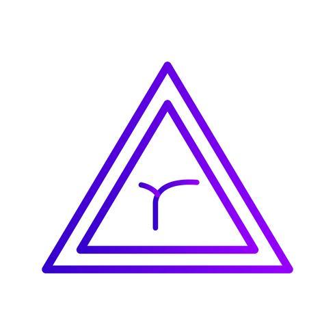 Vektor Junction av böj framåt Vägskylt Ikon