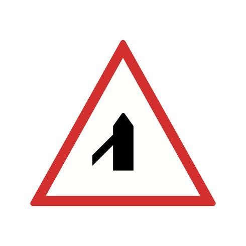 Vektor-Querstraße vom linken Verkehrsschild-Symbol