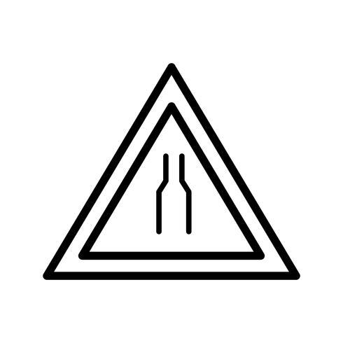 Vettore Road si restringe su entrambi i lati Road Sign Icon