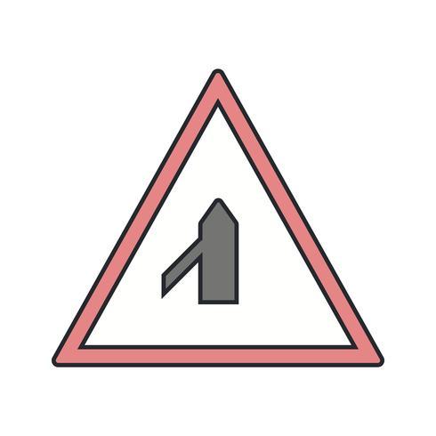 Vektor-Querstraße vom linken Verkehrsschild-Symbol vektor