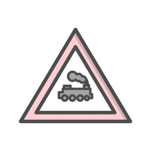 Icono de signo de carretera de tren paso a nivel de vector
