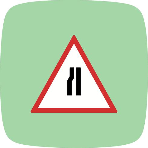 Vector Road versmalt op linker verkeersbord pictogram